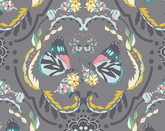 Painted Ladies Flutter, Butterfly Fabric, Floral Fabric, Gray Fabric, Garden, Nature, 100% Quilting Cotton Fabric,