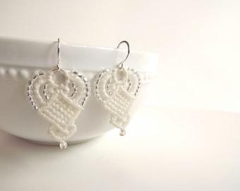 Macrame Earrings - Creamy White Beaded Earrings