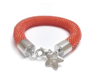 Orange lobster Bracelet • Lobster Orange bracelet • Bead crochet bracelet • Lobster orange crochet bracelet • Gift idea