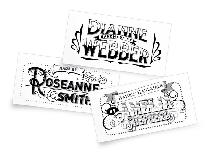 "Custom Fabric Labels, Vintage 1800's, 2.25 x 1.25"" Uncut, Iron on or Sew On, Colorfast 100% Cotton, 5 Styles and Colors, A Great gift!"