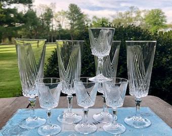 Vintage Crystal Stemware / Elegant Crystal Barware / 4 Champagne Flutes & 4 Cordial Glasses / Vintage Barware / Celebrate in Style