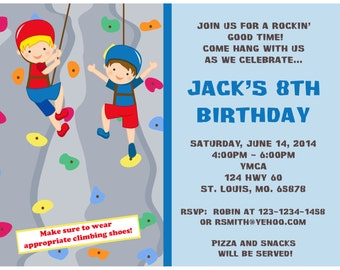 20 Personalized Birthday Invitations   - Rock Climbing Party Design