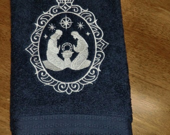 Embroidered Terry Hand Towel - Christmas - Joesph, Mary & Baby Jesus - Navy Towel