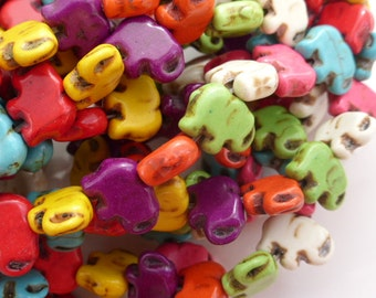 1 Strand Dyed Howlite Elephant Beads 15mm Mixed Colours, Craft Supplies, Jewellery Making, Beads, UK Seller (GB1167)