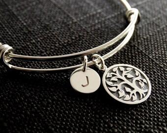 Tree Bracelet Family Tree Bracelet Family Tree Jewelry Personalized Bracelet  Personalized jewelry Tree of life bracelet Silver Bangle