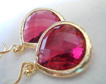 Ruby red drop earrings, glass earrings, faceted fancy dangle earrings, gold plated jewelry, earrings for women, ruby gold rose cut, gift
