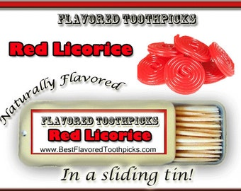 Red Licorice Flavored Toothpicks - 70+ Flavors! Candy, Sugar Free, Thank You Gift, Unique Thank You Gift, Wedding, Baby Shower, Teacher