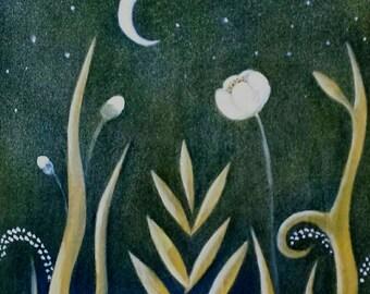 """Globeflower (8X8"""" oil on wood panel)"""