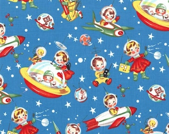 Retro Rocket Rascals Multi by Michael Miller - Space Stars Blue Sky - Quilting Cotton Fabric - choose your cut