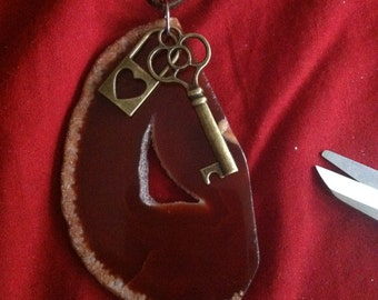 Red agate and skeleton key necklace