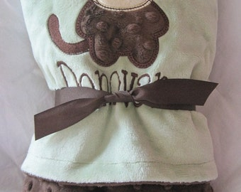 Super soft, Personalized Minky Baby Blanket, cute applique monkey