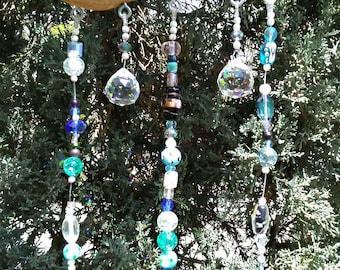 Blue Driftwood Sun Catcher - Glass Bead Windchime - Boho Window Decor - Hanging Garden Art - Bell Wind Chime - Beaded Suncatcher Mobile
