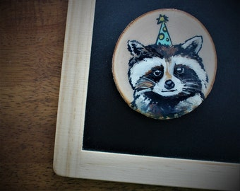 3-inch magnets fridge raccoon who didn't want to party