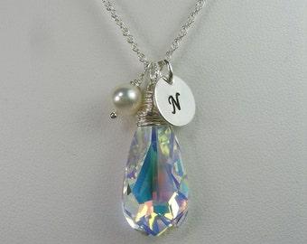 Bridesmaid Jewelry Swarovski Crystal Necklace Initial Necklace Silver Personalized Bridesmaid Gift Bridesmaid Necklace Wedding Jewelry