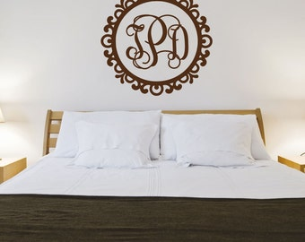Monogram Decal Three Initial Vinyl Wall Monogram Wall Decal Personalized Wall Vinyl Lettering