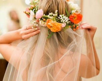 Flowercrown veil, Flower veil, Flower crown