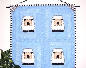 Baby Boy Sheep Quartet Quilted Wall Hanging
