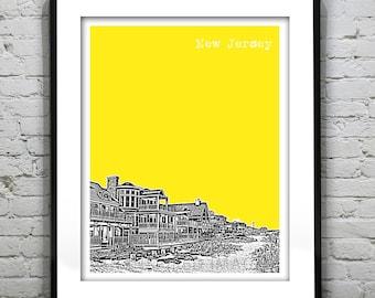 20% OFF Memorial Day Sale - New Jersey Shore Poster Print Art  NJ Skyline Jersey Shore Version 2