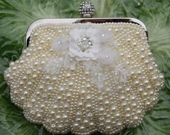 Ivory Bridal Clutch, Pearl Wedding Purse, Ivory Evening Bag, Beach Wedding Bag