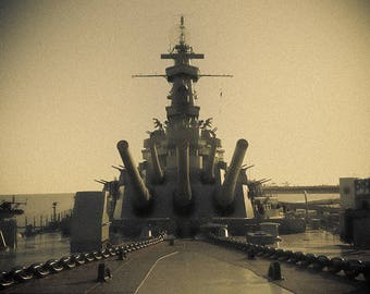 Art Print: USS Alabama, Photography Art Print USA, Historic American Battleship, Mobile AL, Canons and chains in vintage sepia, jc kirk