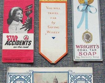 Four Vintage  Advertising  book marks.