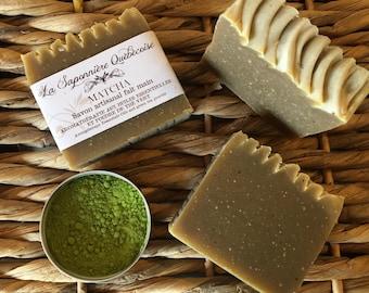 Savon Thé vert Matcha, Savon artisanal fait main 100% naturel, Green Tea Matcha Soap, Cold process All Natural Handmade Soap