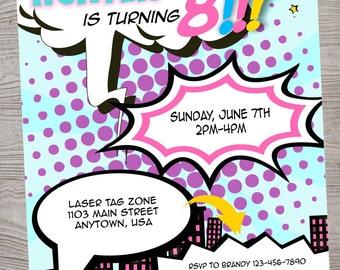 Superhero Comic Girl birthday  party invitation. printable. digital download