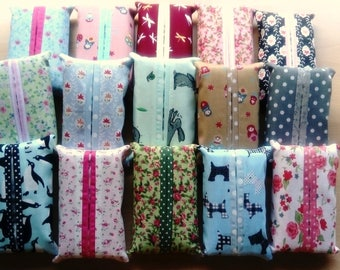 Cute Little Cotton Tissue Packets, Hand made, Complete with 10 x 4 Ply Tissues, Idea for Handbags and as Gifts