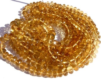 1/2 Strand 8 Inches - Finest Quality Genuine AAA Honey Quartz Micro Faceted Rondelles Large Size 6.5 - 9mm approx