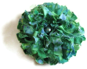 Aqua Blue Green Fabric Flower Brooch St. Patricks Day