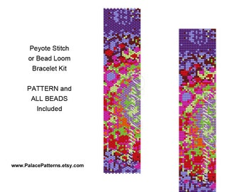 Bracelet KIT for Bead Loom or Peyote Stitch - PP14 Purple Lime Bracelet Beading Kit P12
