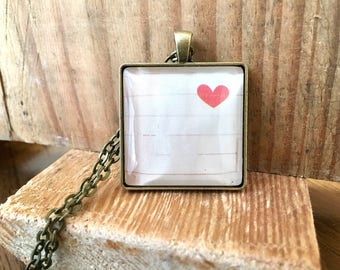 Heart Pendant Necklace Gift for Girlfriend Unique Birthday Gift Industrial Whimsy Valentines Mothers Day
