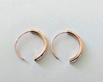 Handmade 14k rose gold fill hoop earrings.