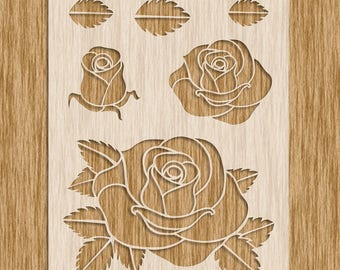"Rose Flower Stencil - Sku FR001 (8.5"" x 11"")"