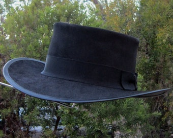 Black suede leather Butch Cassidy & The Sundance Kid Robert Redford Movie style Mens' Hat