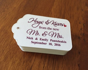 Hugs and Kisses from the new Mr. & Mrs. Favor Tags,Wedding Favor Tags,Custom Favor Tags
