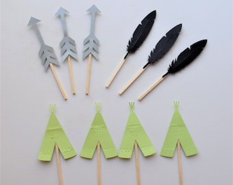 Wild One themed cupcake toppers.Custom teepee, feather, arrow cupcake toppers.Customize your color scheme!Tribal cupcake toppers.