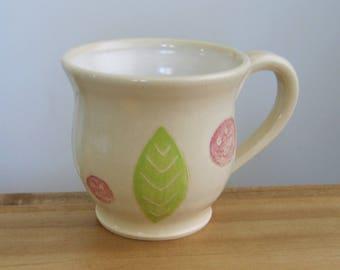 Large Coffee Mug, Modern Abstract Stoneware Pottery Mug, 16 oz Handmade Ceramic Cup, Coffee Gift