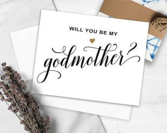 Will You Be My Godmother Card, JPG, PDF, Printable Godmother, instant download, Godmother Card