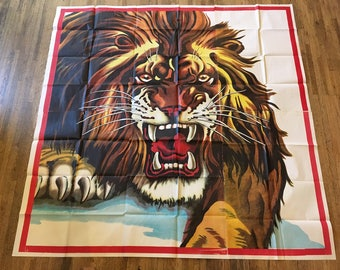 vintage lion circus billboard in 4 panels