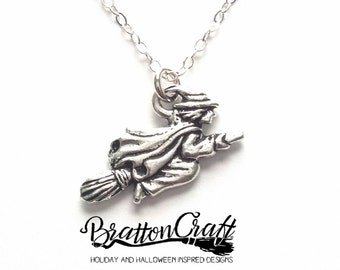 Silver Flying Witch on Broom Necklace - Silver Witch Necklace - Halloween Necklace - Halloween Jewelry - Samhain