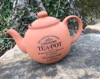 The Original Suffolk Tea Pot   Henry Watson Pottery England   Terra-cotta   Vintage Earthenware