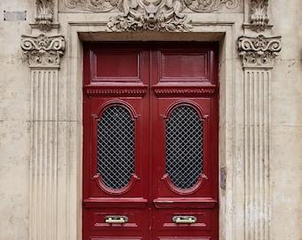 Door Photography, Red Door Photography, Paris Decor, Paris Print, Travel Photography, Paris Apartment, Urban Home Decor - No. 17