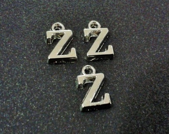 Z - 10 Pcs Silver Tone Color 10 mm Small Letter , 10 mm Necklace Letter , Alphabet Beads , Silver Tone Letter ,Good Quality