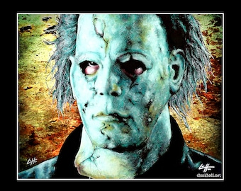 "Print 11x14"" - Michael Myers - Halloween Dark Art Horror Rob Zombie Serial Killer Monster Mask Leatherface Freddy Krueger Boogeyman Pop Art"
