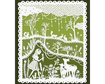 Green Meadows - 8x10 Print - Original Papercut Illustration - Girl and Deer