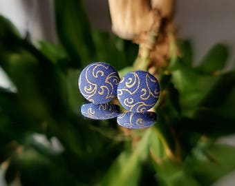 Studs, earrings, studs, fabric button, blue, gold, gold, 15mm patterned
