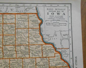 Vintage Iowa State Map, 1938 antique wall art Map, wall decor, old maps
