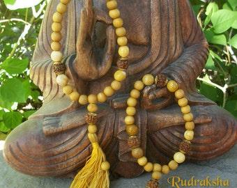 Bracelet bouddhiste Japa MALA santal ~ Yoga Mala ~ Pierre Mokaïte ~ de Rudraksha ~ pompon ~ 3 taille de la famille Sm Med Lg