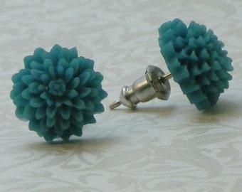 Mum Flower Earrings - Aqua Blue Teal